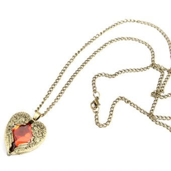 HKS Vintage Women Red Rhinestone Peach Heart Wing Pendant Necklace Chain - Intl