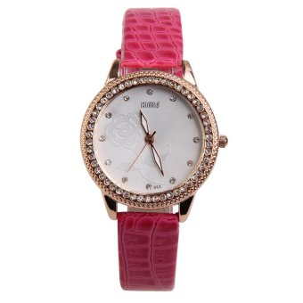 HKS Women Wristwatch Stripe PU Band Alloy Round Face with Crystals Fushcia - Intl - picture 2