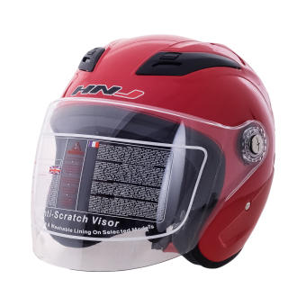 HNJ 518 Open Face Safe and Convenient Motorcycle Helmet-(Red)