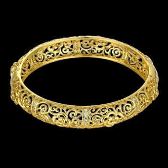 Hollow Flowers Brass Bangle Bracelet Embedded with AAA Zircon with An Opening Golden & Rose Golden Fashional Accessories for Women (Intl) - picture 2