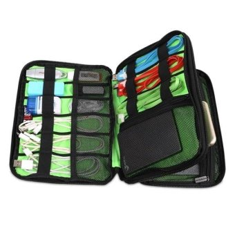 Hot Sale Fashion Double Travel Storage Organizer Bag Carry Case ForCable Charger - intl - 3