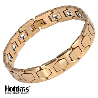 Hottime 15 PCS 99.99% Tungsten Germanium Bracelet&Magnetic Germanium Bracelet Never Fade IP Gold Plated Health Bio Energy Bracelets Bangles Men's Jewelry 10146 - intl
