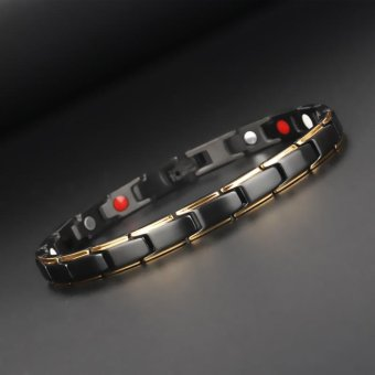 Hottime 4 in 1 Magnetic New Fashion Lovers' Jewelry Steel BlackGold Titanium Bracelet For Women And Men Never Fade Top-Quality10089 - intl - 5