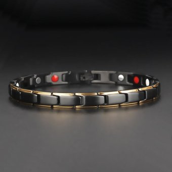 Hottime 4 in 1 Magnetic New Fashion Lovers' Jewelry Steel BlackGold Titanium Bracelet For Women And Men Never Fade Top-Quality10089 - intl - 4