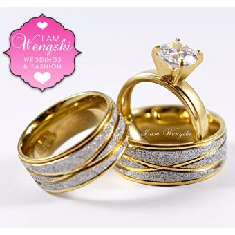 I am Wengski Achilles Couple Wedding Ring (Two-Toned) with I amWengski Zoe Engagement Ring (Gold)