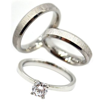 I am Wengski Anthony Couple Wedding Ring (Silver) with I am WengskiPlain Engagement Ring (Silver)