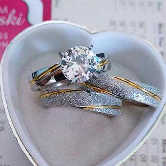 I am Wengski Brett Couple Wedding Ring (Two-Toned) with I amWengski Maja Engagement Ring (Two Toned) - 2