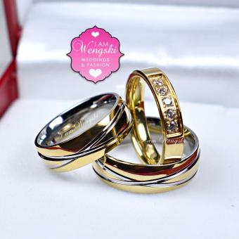I am Wengski Roman Couple Wedding Ring (Two Toned) with I am Wengski Half Eternity Promise Ring (Gold)