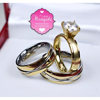 I am Wengski Roman Couple Wedding Ring (Two-Toned) with I amWengski Zoe Engagement Ring (Gold)