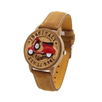 Harga Flip Top Italy Scooter Kids Brown Leather Strap Watch