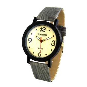 Harga Wooden Unisex Grey Leather Strap Watch B003