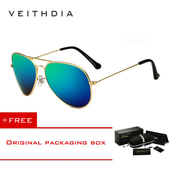 VEITHDIA Brand Classic Fashion Polarized Sunglasses Men/Women Colorful Reflective Coating Lens Eyewear Accessories Sun Glasses 3026(Gold Green) [ Buy 1 Get 1 Freebie ] Price Philippines