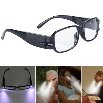 Harga Rimmed Reading Eye Glasses Eyeglasses Bedroom Spectacal LED Light Black Portable