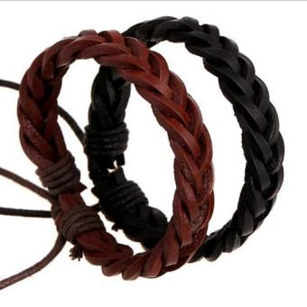 Harga 2pcs Brown and Black Handmake Art Bracelets For Man and Woman - intl