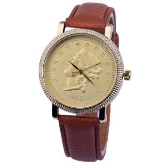 Harga Geneva Sophisticated Gold Statue Image Leather Watch (Brown)