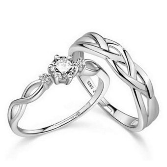 Harga Couple Rings Jewellry 925 Silver Adjustable Lovers Ring Jewelry E028 - intl
