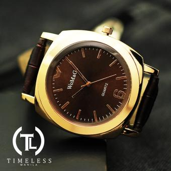 Womage Sara Gold Leather Watch (Dark Brown) Price Philippines