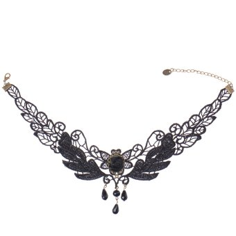 Harga Jewelry Alloy and Lace Necklace for Women and Girl (Black)