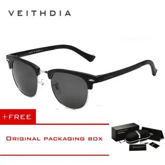 VEITHDIA Unisex Retro Aluminum Magnesium Sunglasses Polarized Mirror Vintage Outdoor Eyewear Accessories Sun Glasses 6690 (Black) - intl Price Philippines