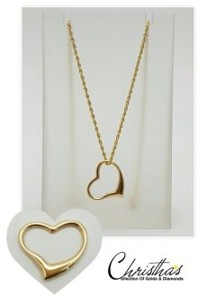 Harga Darlene Rope Chain Necklace N Open Heart Pendant Saudi Gold 18K