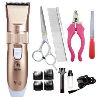 Harga Feng Sheng Pet Animal Dog Cat Electric Hair Trimmer Clipper Grooming Pet Cut Sets-Gold - intl