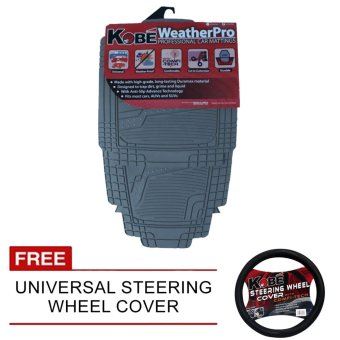 NFSC-WeatherPro Professional Car Matting (Grey) with Free Universal Steering Wheel Cover Price Philippines