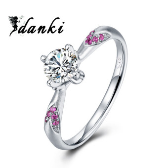 Harga Engagement Ring Women CZ Hearts and Arrows Cut Gemstone Ruby Jewelry S925 Sterling Silver Solitaire Ring