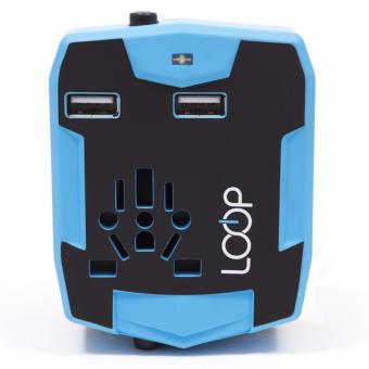 Harga Loop World Travel Adapter 3.0 with Power Bank & Dual USB Charging Ports (Blue)