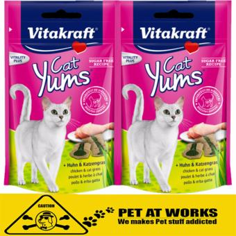 Harga Vitakraft 2packs Cat Yums Chicken & Cat Grass (40g) for cats and cat food