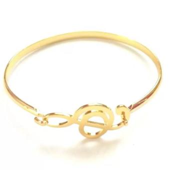 Harga Crown Stainless Gold Music Note Bangle