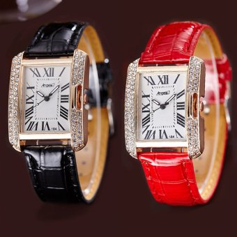 ANGEL Diamond Women Fashion Leather Strap Quartz Watch Set of 2 (Black/Red) Price Philippines