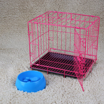 Harga 2 Door Pet Dog Cat Metal Collapsible Wire Cage Crate Kennel with Plastic Tray