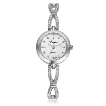 Harga Lvpai Brand Women Alloy Diamond Rhinestone Dress Watch (Silver+White) - intl