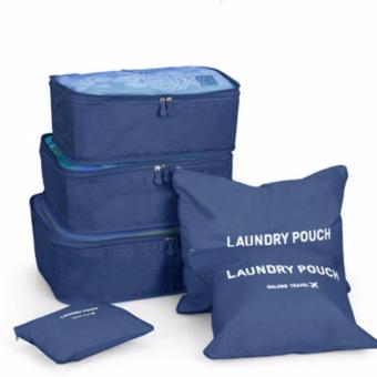 Harga mittaGonG 6 in 1 Travel Organizer Bag Storage Luggage Bags Cloth Packing Cube (Navy Blue�?- intl