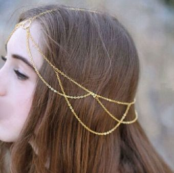 Fang Fang Bohemian Crown Metal Tassel Head Chain Headband Jewelry Headpiece Hair Band (Gold) (Intl) Price Philippines