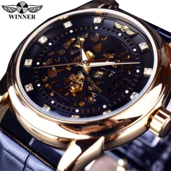 Harga Mens Watches Royal Diamond Design Black Gold Watch Montre Homme Top Brand Luxury Relogio Male Skeleton Mechanical Watch - intl