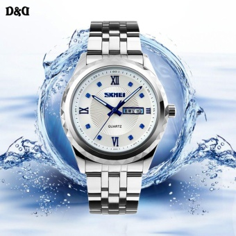 Harga SKMEI 9100 Elegant Diamond Men Stainless Steel Band Waterproof Quartz Watch