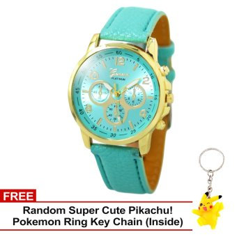 Harga Geneva Sophie Mint Green Leather Strap Watch with Free Super Cute Pikachu Key Chain