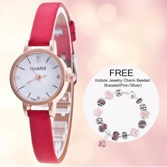 Harga CWL Slim Chick Leather Strap Watch (Red) with FREE Victoria Jewelry Charm Beaded Bracelet(Pink/Silver)