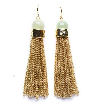 Athena & Co. Jade Tassel Earrings (Gold/Green) Price Philippines