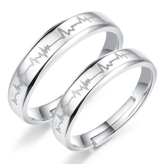 Harga Couple Rings Jewellry 925 Silver Adjustable Lovers Ring Jewelry E017 - intl