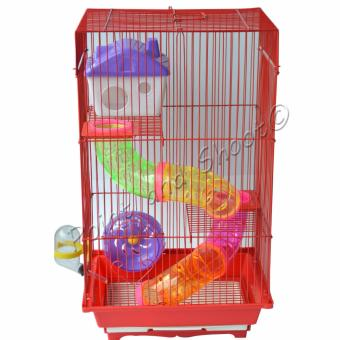 Harga 3 Layer Mouse Mice Hamster Cage - Red