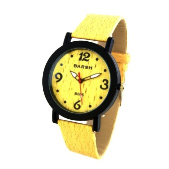 Harga Wooden Unisex Yellow Leather Strap Watch B005