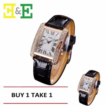 ANGEL Diamond Women Fashion Leather Strap Quartz Watch (Black) Buy One Take One Price Philippines