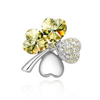 Harga J032 New 4 Leaf Four Leaf Clover Crystal Special Heart Love Brooch Yellow - Intl