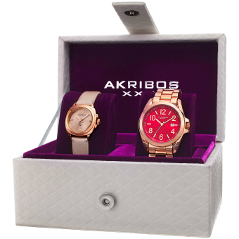 Harga Akribos XXIV Women's AK821RG Alloy, Satin over Leather Bracelet, Strap , Quartz Box Set