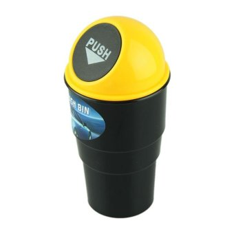 Harga NEW car garbage can Car Trash Can Garbage Dust Case Holder Bin Yellow - intl
