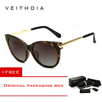 VEITHDIA Vintage Large Sun glasses Polarized Cat Eye Ladies Designer Women Sunglasses Outdoor Eyewear Accessories Female 7016 (Brown) [ Buy 1 Get 1 Freebie ] - intl Price Philippines