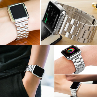 Harga Moonar Stainless Steel Bracelet Link Watch Band Strap with Connector for Apple Watch iWatch (Silver-38mm) - intl