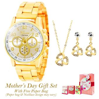 Harga Geneva Sophie Stainless Steel Watch Mother's Day GIFT SET (Light Yellow)